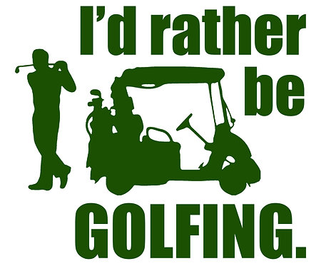 I'd Rather Be Golfing Cornhole Decal Sticker - White