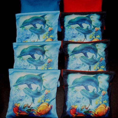 DOLPHINS HAPPY PLAYING IN OCEAN REEF Cornhole bags, set of (8)