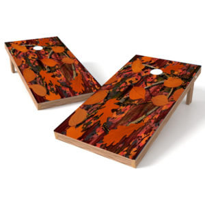 Orange Cornhole Wrap Leaf Camo 2