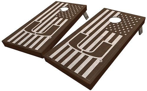 UNIVERSITY OF MIAMI STAINED AMERICAN FLAG CORNHOLE BOARD SET