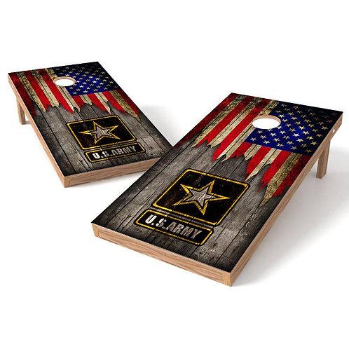 US Army American Flag Wood Cornhole Wrap