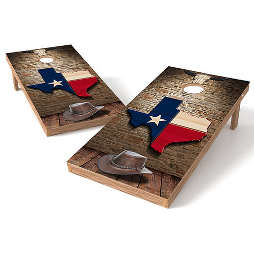 Texas State Hat Wood Cornhole Wrap