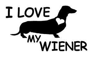 Love my Wiener Dog Cornhole Decal Sticker