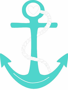 Teal and White Boat Anchor Cornhole Board Decal Sticker