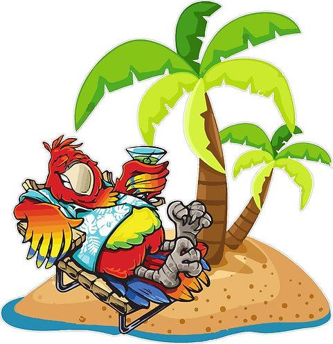 parrot island cornhole decal sticker