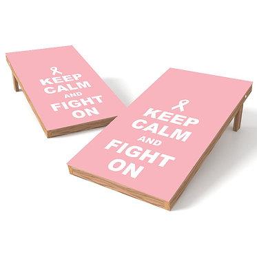 Keep Calm Fight On Pink Cornhole Wrap