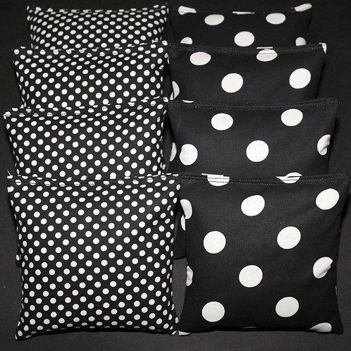 Black and white polka dot wedding bags, set of (8)
