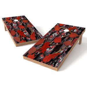 Red Leaf Camo Cornhole Wrap