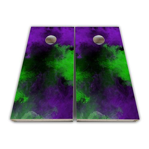 Purple and Neon Smoke Cornhole Board Set Baggo Set