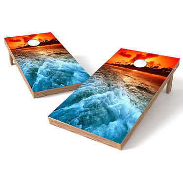 Orange Sunset Beach Cornhole Wrap