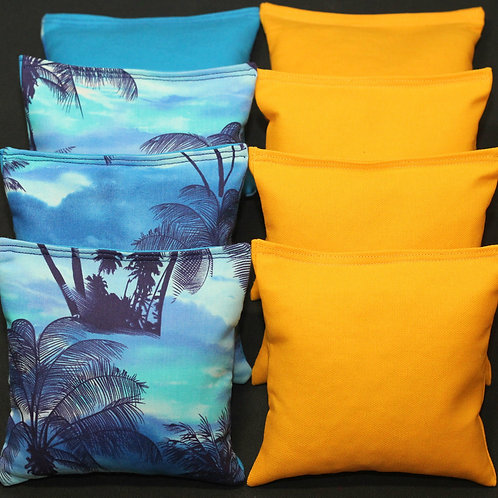 Palm Trees Paradise Island Cornhole bags, set of (8)