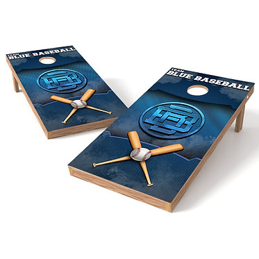 Team Blue Baseball Cornhole Board Wrap