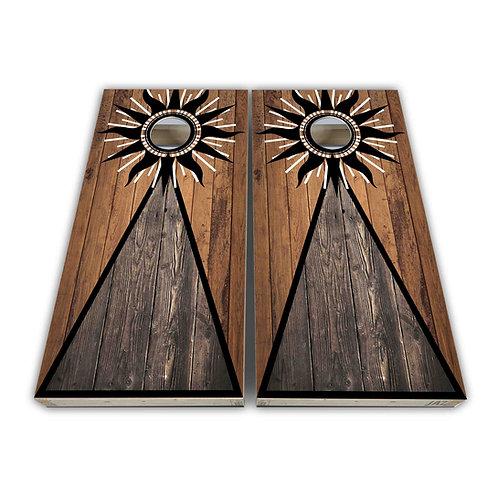 Wood Sun Cornhole Board Set Baggo Set