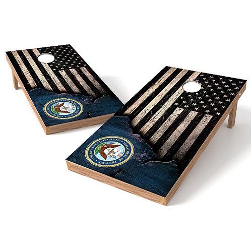 US Navy Ripped Worn Flag Cornhole Wrap