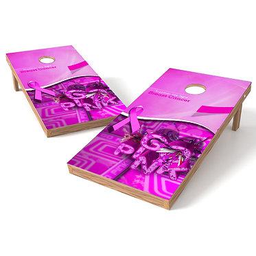 Breast Cancer 4 Ribbon Cornhole Wrap