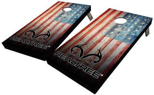 REALTREE RUSTIC AMERICAN FLAG CORNHOLE BOARDS - Corn Bags -Free Shippin