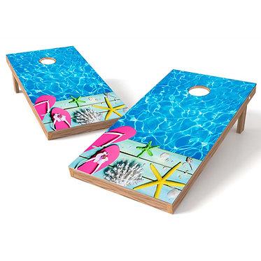 Flip Flop Coral Pool Cornhole Decal Wrap