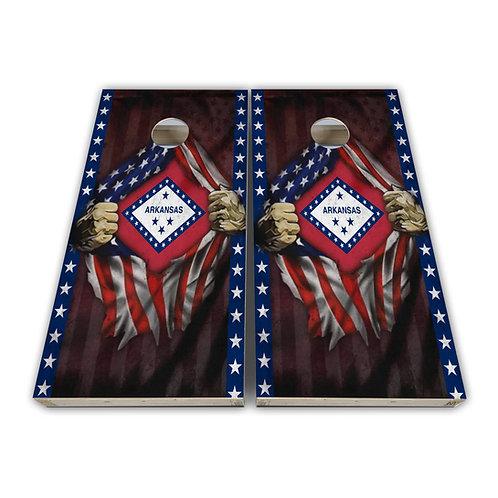 Arkansas State Arkansas Chest Flag Cornhole Board Set Baggo Set