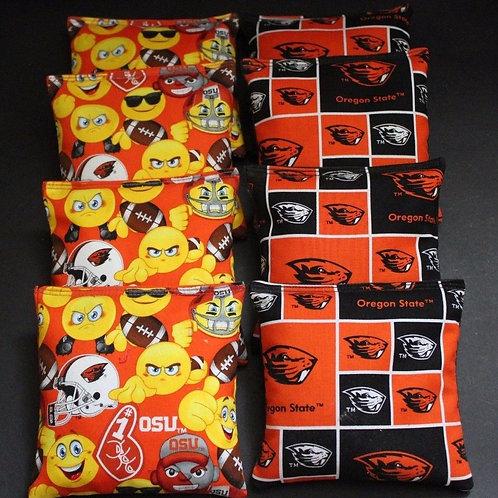 Oregon State Emoji and Beavers Cornhole bags, set of (8