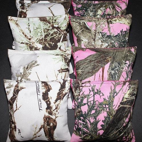 REALTREE Orange Camo Pink and White Cornhole bags, set of (8)