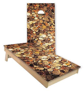 Coin Collection Cornhole Wrap
