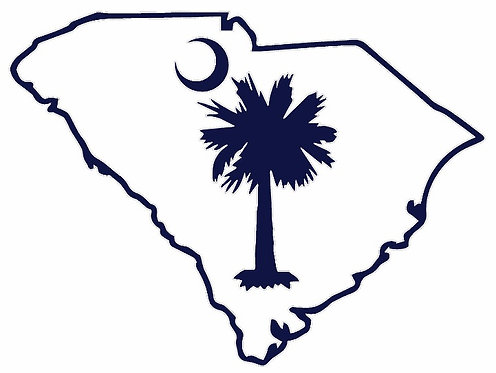 South Carolina State Outline Palmetto Tree Decal Sticker