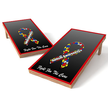 Fight For The Cure Autism Cornhole Board Wrap