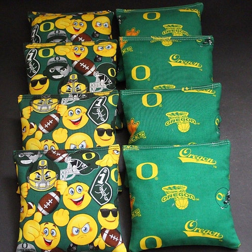 Oregon Emoji and Ducks Cornhole bags, set of