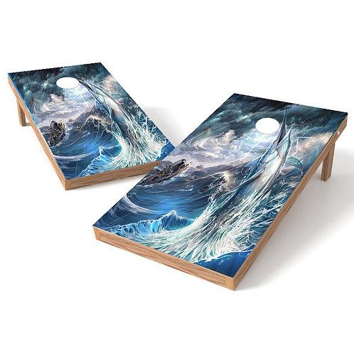 Marlin Storm Cornhole Board Wrap