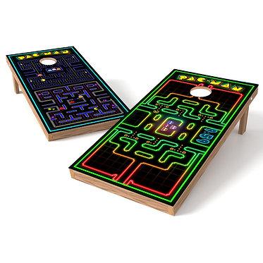 Retro Pacman Cornhole Board Wrap