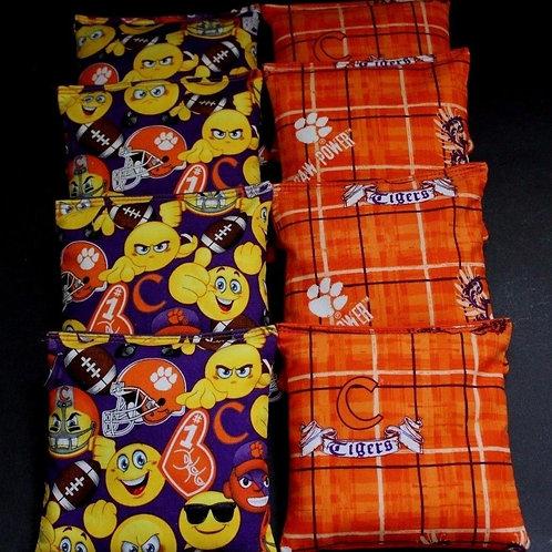 Clemson Emoji and Tigers Cornhole bags, set of (8)