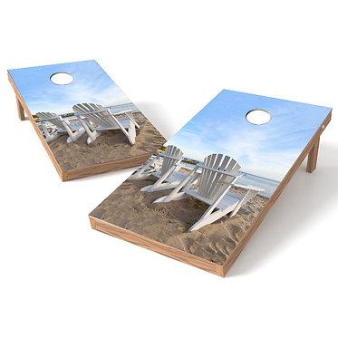 Adirondack Chairs on Beach Cornhole Wrap
