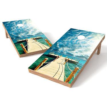 Ocean Pier Cornhole Board Wrap