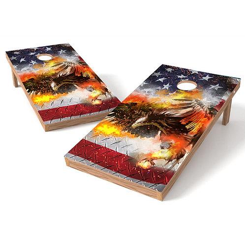 Eagle FIre Flag Cornhole Wrap