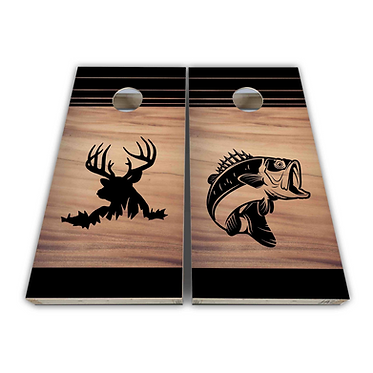 Deer and Fish Cornhole Board Wrap Bean Bags Decal Wrap