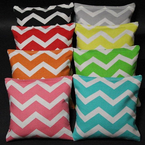Chevron Cornhole bags - PICK two colors, set of (8)