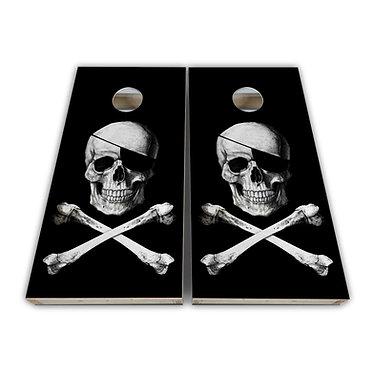 Pirate Skull Cross Bones Cornhole Wrap