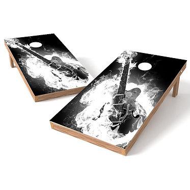 Smoking Guitar Cornhole Board Wrap