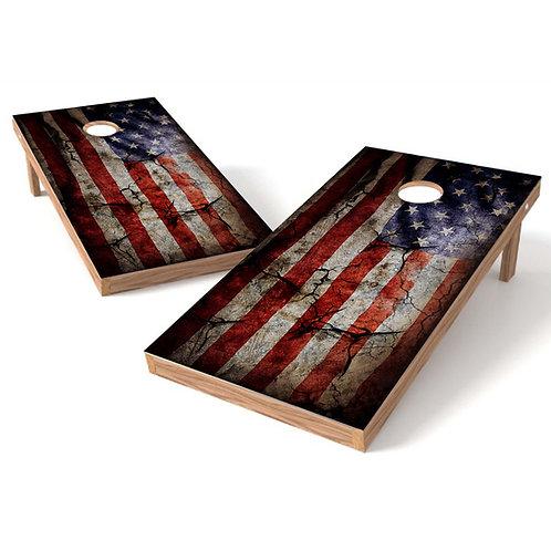 Vintage American Flag Cornhole Board Set
