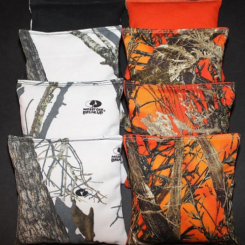 Snow White & Orange Tree Camo Cornhole bags, set of (8)