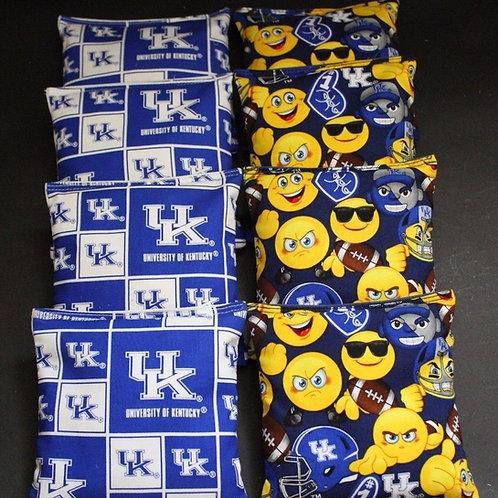 Kentucky Emoji and Wildcats 2 Cornhole bags, set of (8)