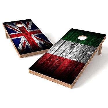Italian Flag Great Britain Flag Cornhole Wrap