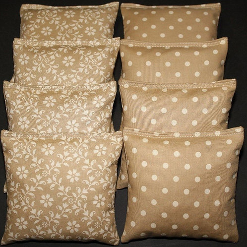 Gold floral and dots wedding cornhole bags, set of (8)