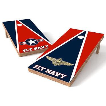 Fly Navy Cornhole Wrap