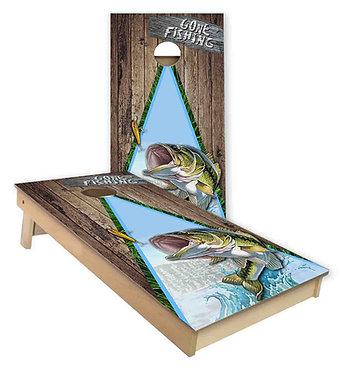 Gone Fishing Bass Cornhole Board Wrap Bean Bags Decal Wrap
