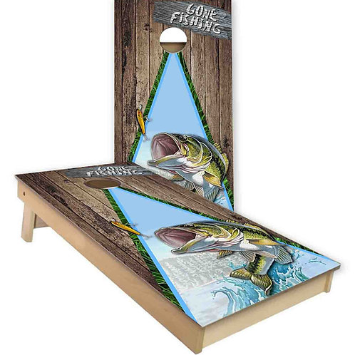 Gone Fishing Bass Cornhole Board Set