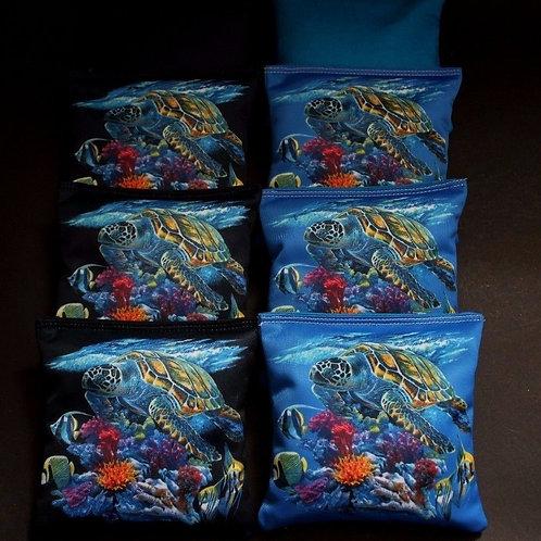 CORAL FISH SEA TURTLES SWIMMING OCEAN Cornhole bags, set of (8)
