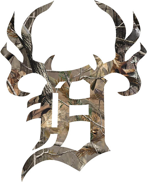 Camo Detroit Hunt Club Cornhole Board Decal Sticker