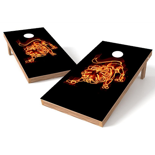 Leo Fire Circle Cornhole Wrap