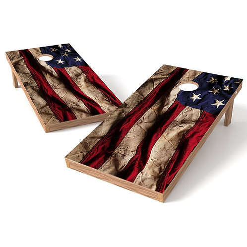 Tattered American Flag Cornhole Wrap